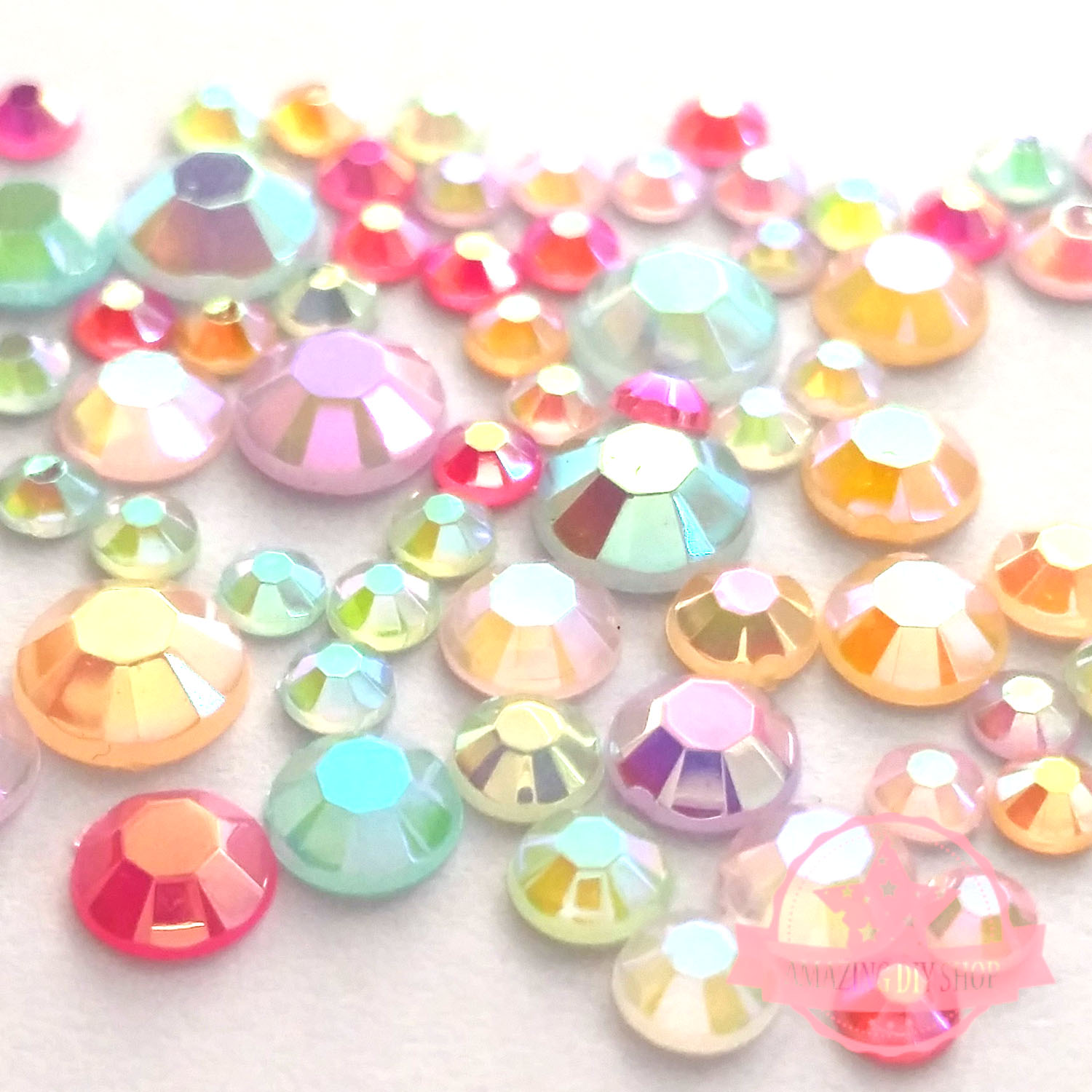 8fa1884d7590 Details about 1200 Jelly Resin Rhinestone 3 4 5 6mm Flat back Mixed Color  Size AB Decor
