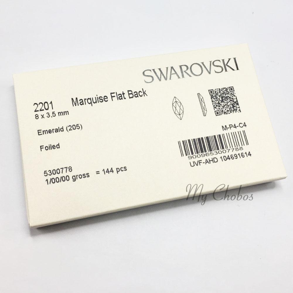 205 8 cristal de Swarovski 2201 Marquesa Nosso Flatback 8x3.5mm Verde Esmeralda