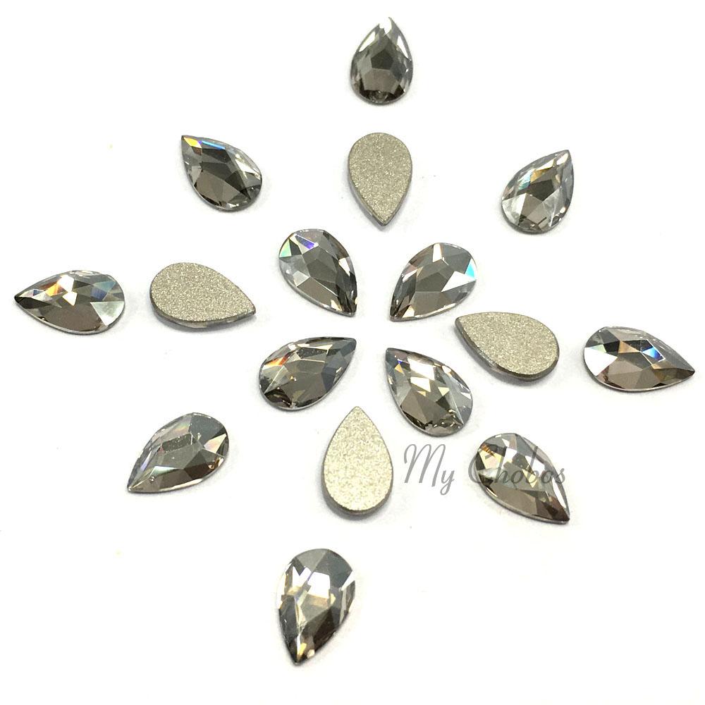 8 Swarovski 2303 Pear Drop Flatback 8mm x 5mm nail art CRYSTAL ... 37e6f6c2fc07