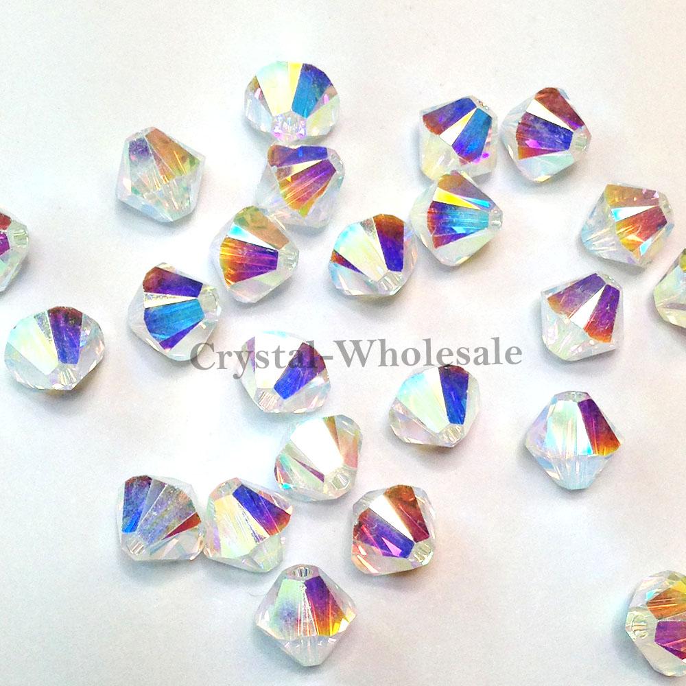 5328 Swarovski® Crystal Bicone Beads White Opal AB 2X