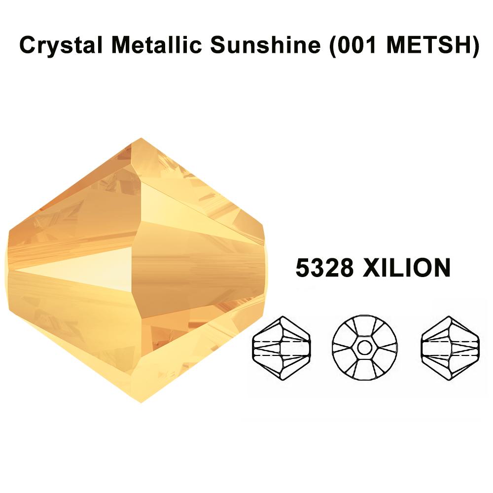 5mm Crystal Metallic Light Gold 2x Genuine Swarovski 5328 XILION Bicone Beads